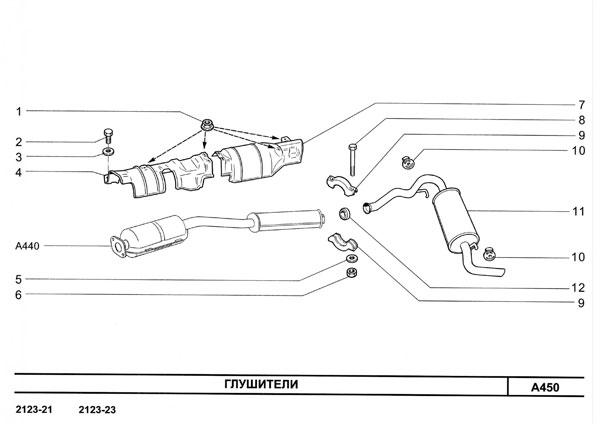 Глушители и резонаторы.  Каталог Двигатель и его системы Шевроле НИВА 2123 NIVA Chevrolet ВАЗ-2123-21-10.