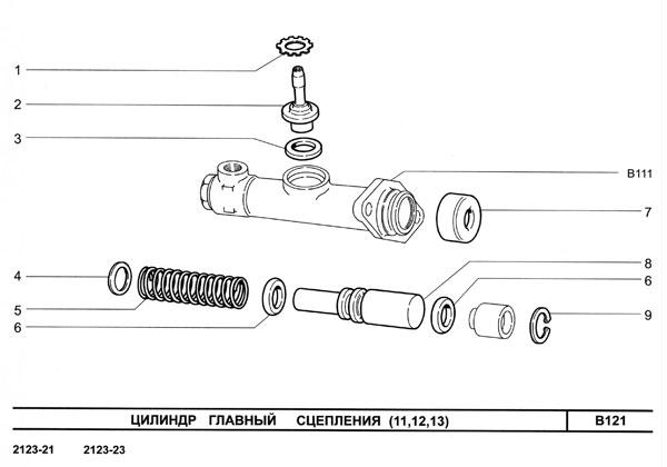 Цилиндр главный привода сцепления.  Каталог ВАЗ Шевроле НИВА 2123 NIVA Chevrolet.