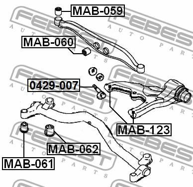 50332 сайлентблок mb871062 msb-007 20 rvr n23w/n28w 92 rear (febest)